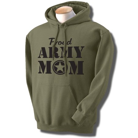 Proud Army Mom Hooded Sweatshirt in Military Green