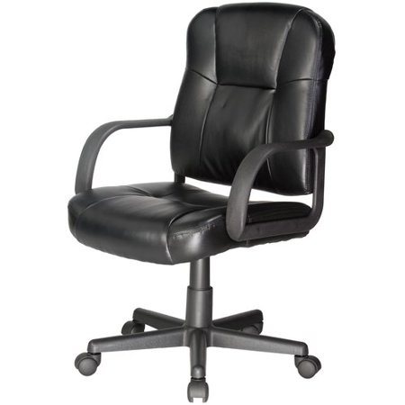 RelaxZen 2-Motor Mid-Back Leather Office Massage Chair, Multiple Colors (Leather Mid Back Office Chair)