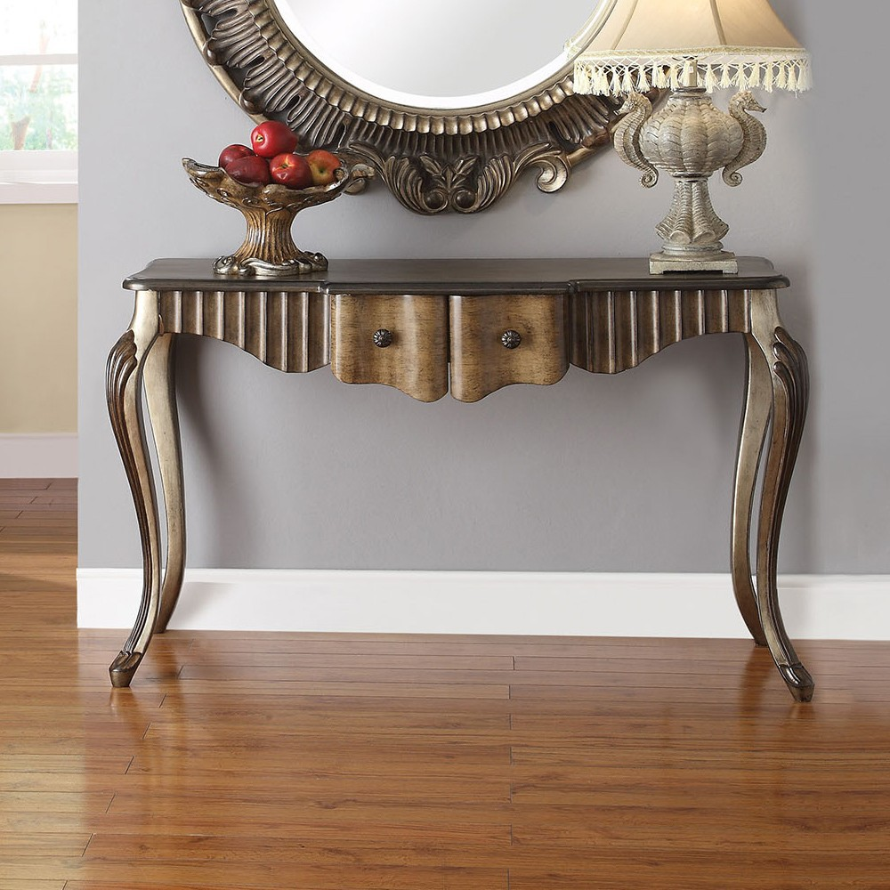 1PerfectChoice Bayley Hallway Entrway Console Sofa Table Bronze Taupe Accent Mirror Optional by