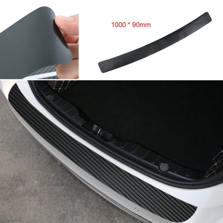 3D Carbon Fiber Film Universal Trunk Rear Guard Plate Sticker Car Rear Bumper Trim Anti-Kicked Scratch Protection Sticker (Carbon Fiber Trim)