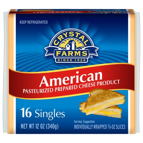 Crystal Farms American Cheese Slices, 0.75 oz, 16 ct