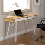 Techni Mobili Modern Multi Storage Computer Desk with Storage, Pine (RTA-1462-PN)