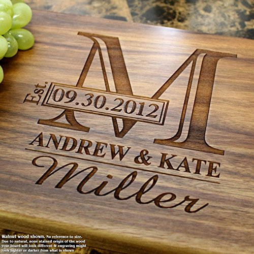 Monogram Personalized Engraved Cutting Board- Wedding Gif...