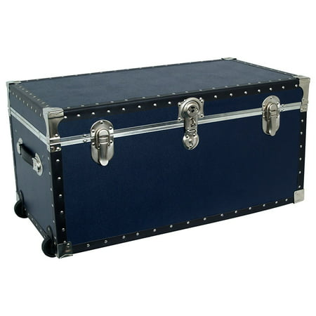 Navy Blue Baskets (Seward Base Oversized Footlocker Trunk with Wheels and Tray, 31