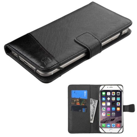 Leather Flip Wallet Case with Card Slot by Insten, Black for iPhone 6 Plus 6s Plus / Alcatel One Touch Idol 3 / Samsung Galaxy Note 7 4 3 Edge Mega 2 / ZTE Zmax Max / LG G Vista G5 V20 ()