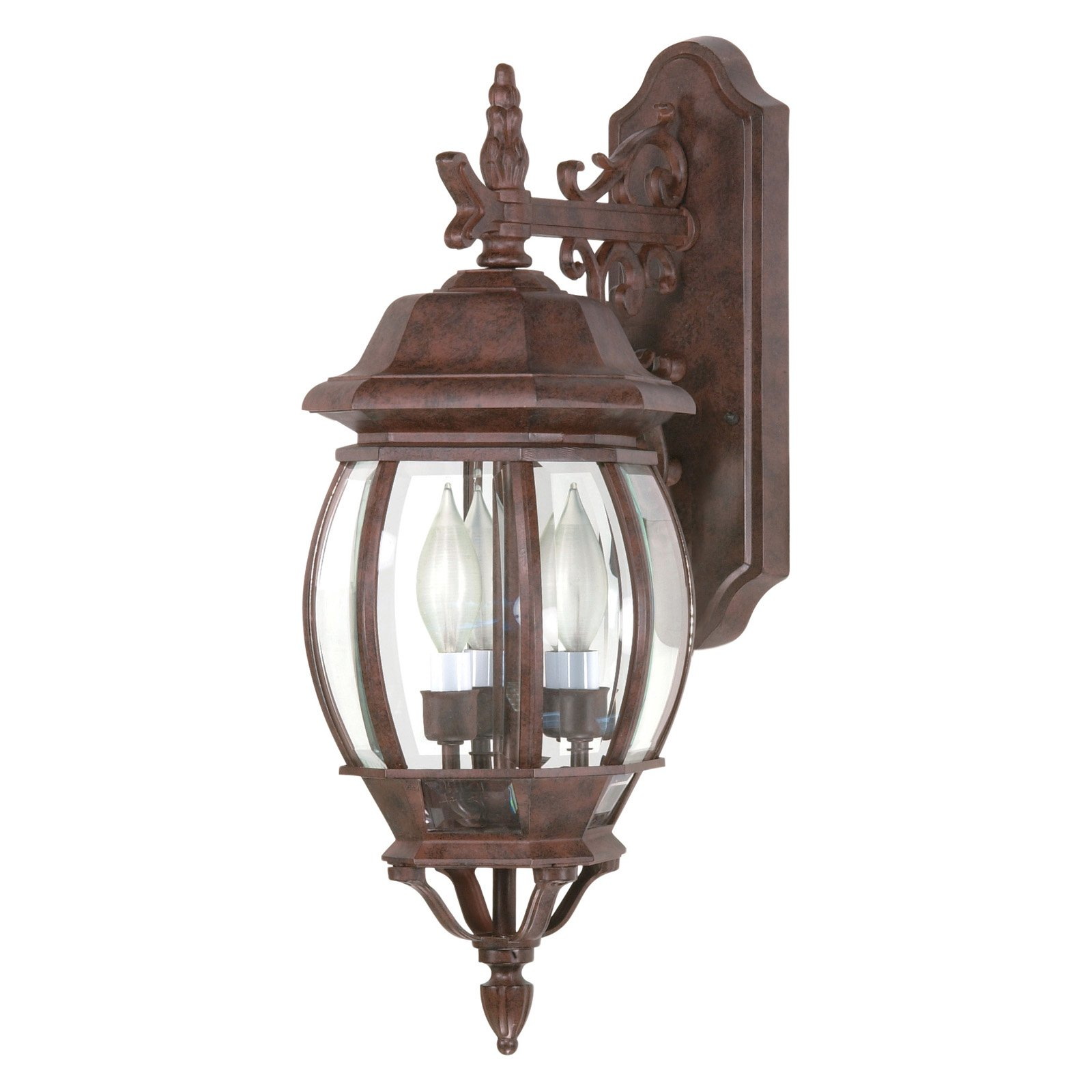 Satco Central Park Old Bronze Transitional Outdoor w/ 3 Light 60W