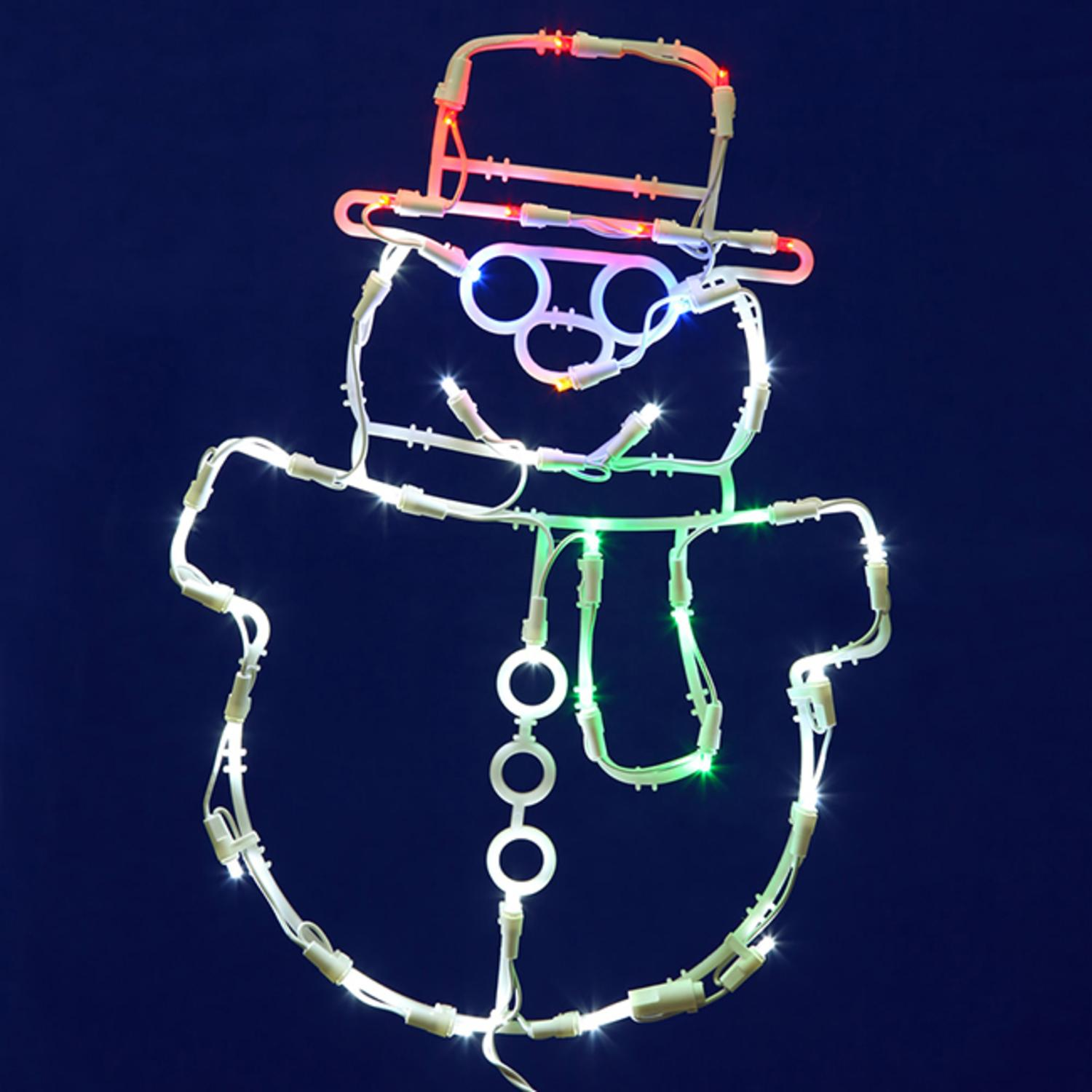 "17"" Lighted LED Smiling Snowman Christmas Window Silhouette Decoration"