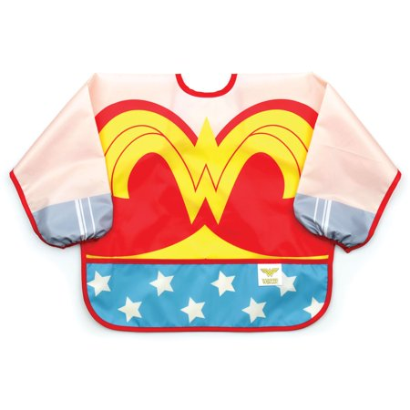Cheap Halloween Crafts Adults (Bumkins Wonder Woman Sleeved Bib, Waterproof, Art, Crafts, Play, Washable, Stain and Odor Resistant, for ages 6-24)