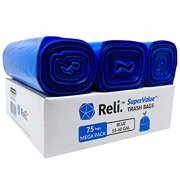 Reli. 55 Gallon Recycling Bags (75 Bags) Blue Heavy Duty Drum Liner 60 Gallon - 55 Gallon Garbage Bags, Blue Recycle Bags 55-60 Gal