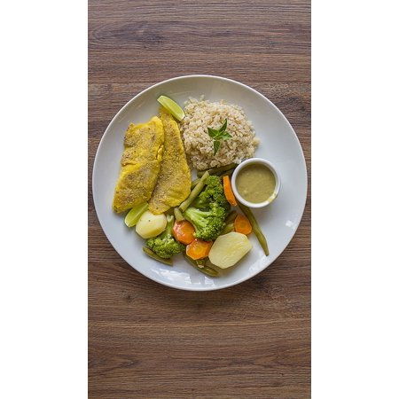 Peel-n-Stick Poster of Broccoli Healthy Food Rice Integral Breaded Fish Poster 24x16 Adhesive Sticker Poster (Breaded Fish)