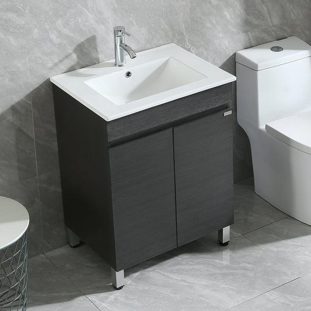 Walcut 24 Black Bathroom Vanity Cabinet Wood Set Single Vessel Sink Walmart Com Walmart Com