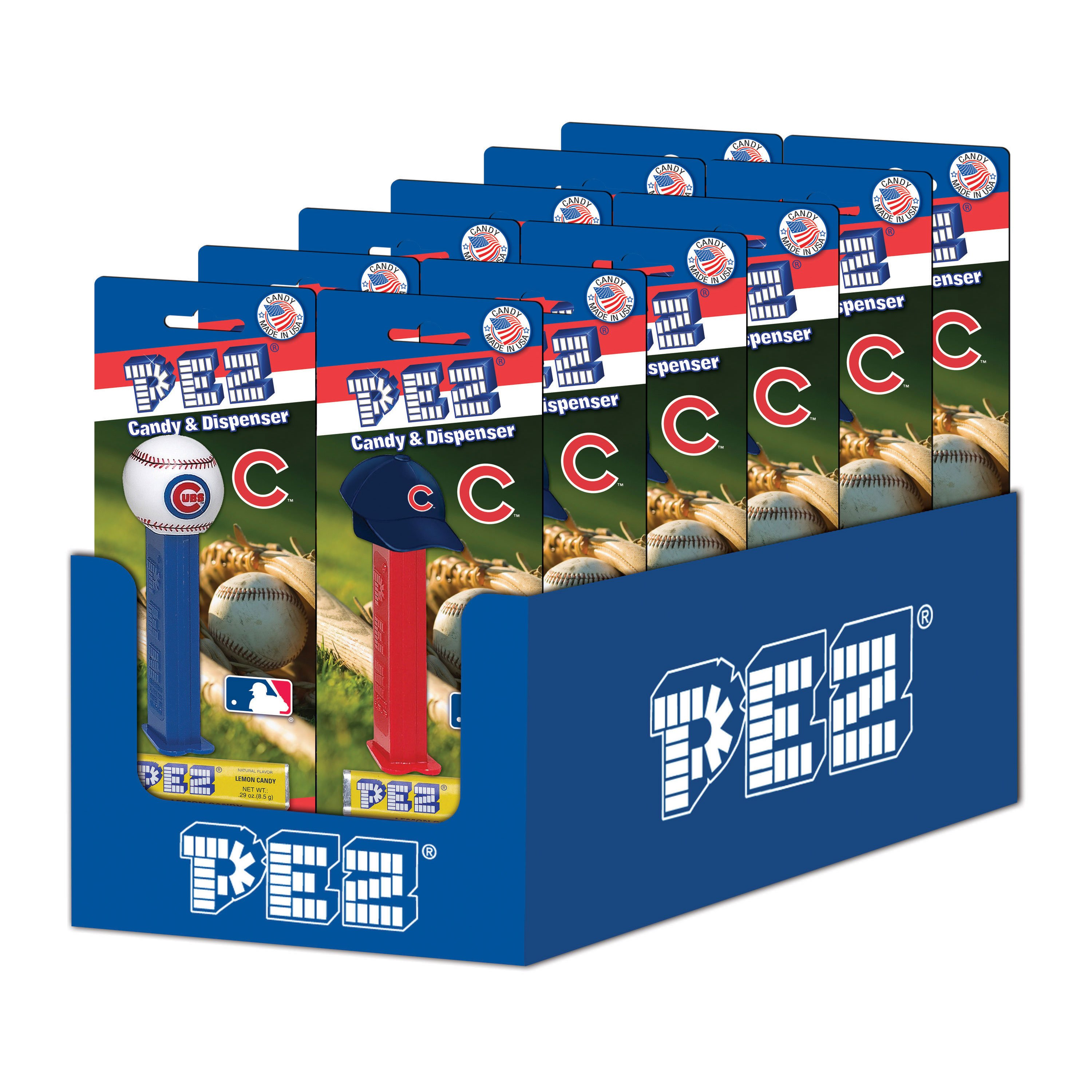 PEZ Candy MLB: Chicago Cubs, candy dispenser with 3 rolls of assorted fruit candy, box of 12