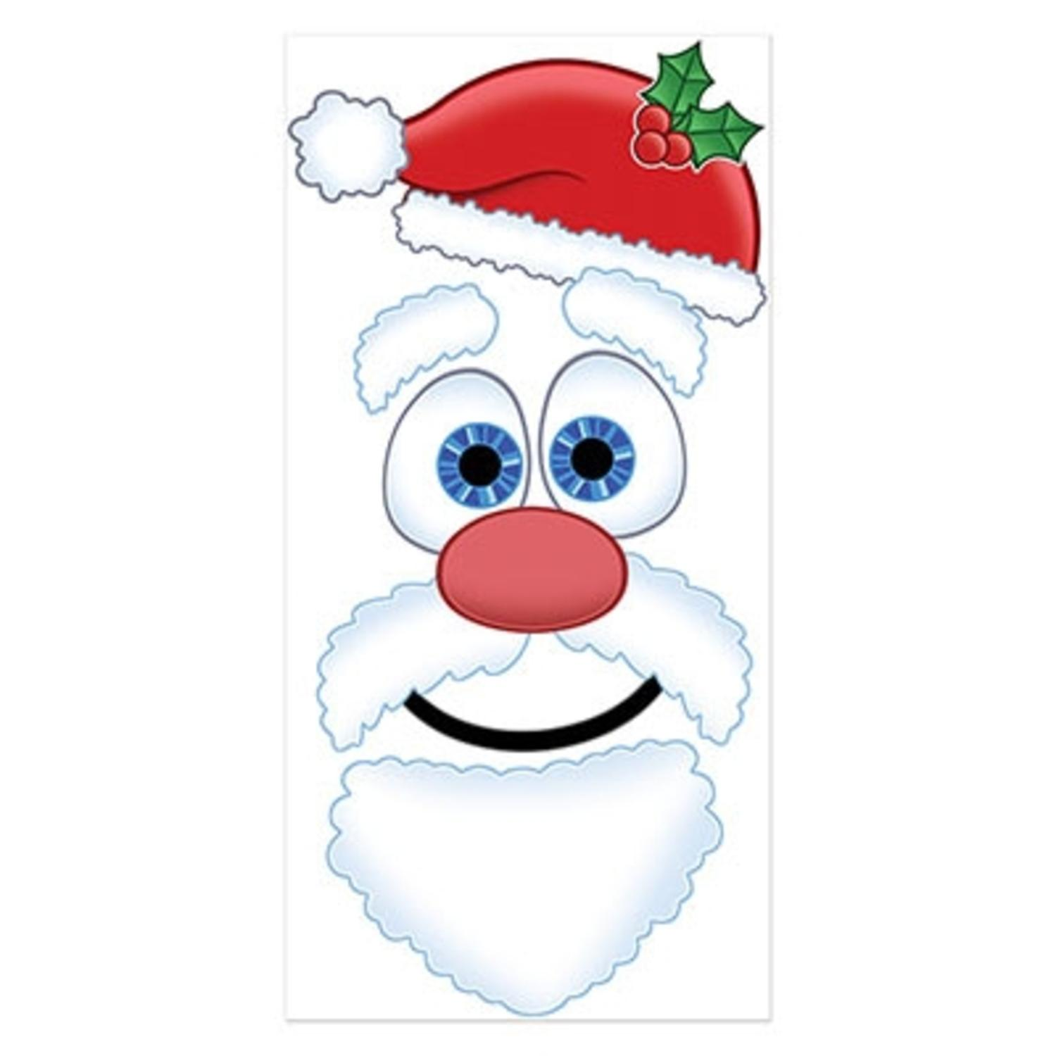 Club Pack of 12 Winter Wonderland Themed Santa Claus Face Door Cover Party Decorations 5'