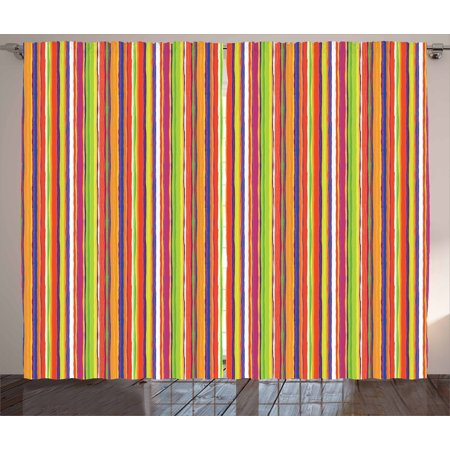 Stripes Curtains 2 Panels Set, Hand Drawn Barcode Style Lines Rainbow Colored Abstract Geometric Illustration, Window Drapes for Living Room Bedroom, 108W X 108L Inches, Multicolor, by Ambesonne