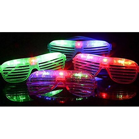 12 pieces Flashing LED Light up Slotted Shutter Sunglasses Shades Party Favors Bag Fillers