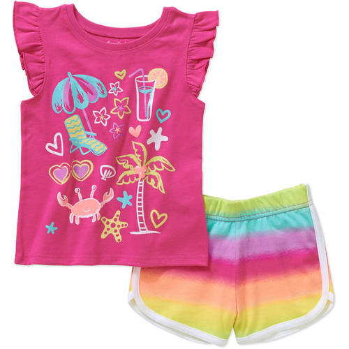 Garanimals Baby Toddler Girl Short Sleeve Graphic Tee Shirt and Dolphin Short Outfit Set