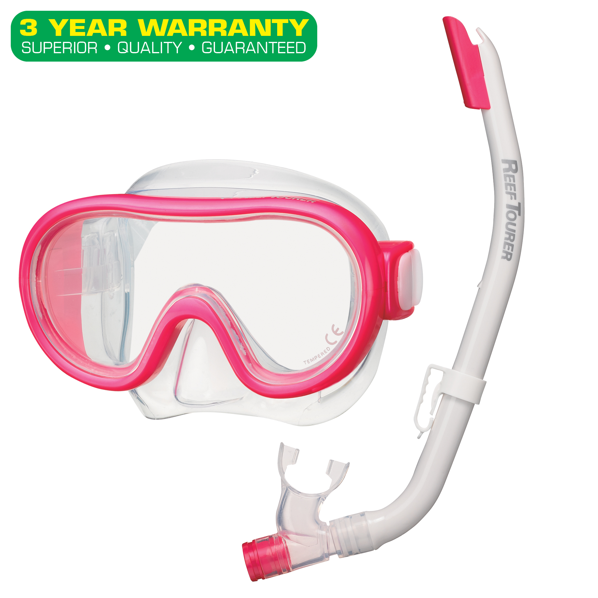 Reef Tourer Youth Single-Window Mask & Snorkel Combo Set for Kids by Tabata USA, Inc.