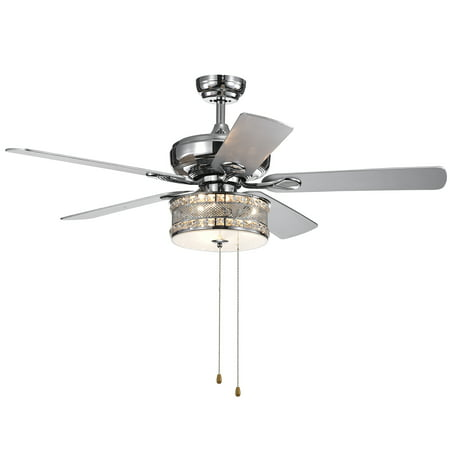 Davrin 5-Blade 52-Inch Chrome Lighted Ceiling Fans with 3-Light Crystal Drum