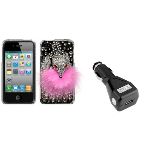 Insten Pink Fox Crystal 3D Case (w/Package) For iPhone 4 4S + USB Car Charger
