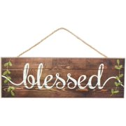 """Brown Rustic Wooden Blessed Sign - 15"""" x 5"""", Vintage Spring Easter Wall Decor, Wreath, Farmhouse. Home, Kitchen, Front Door, Porch, Barn, Christian Decoration"""