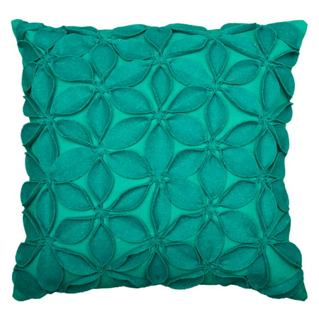 Teal Bed Pillow (Rizzy Home Decorative Poly Filled Throw Pillow Solid Botanical Petals 18