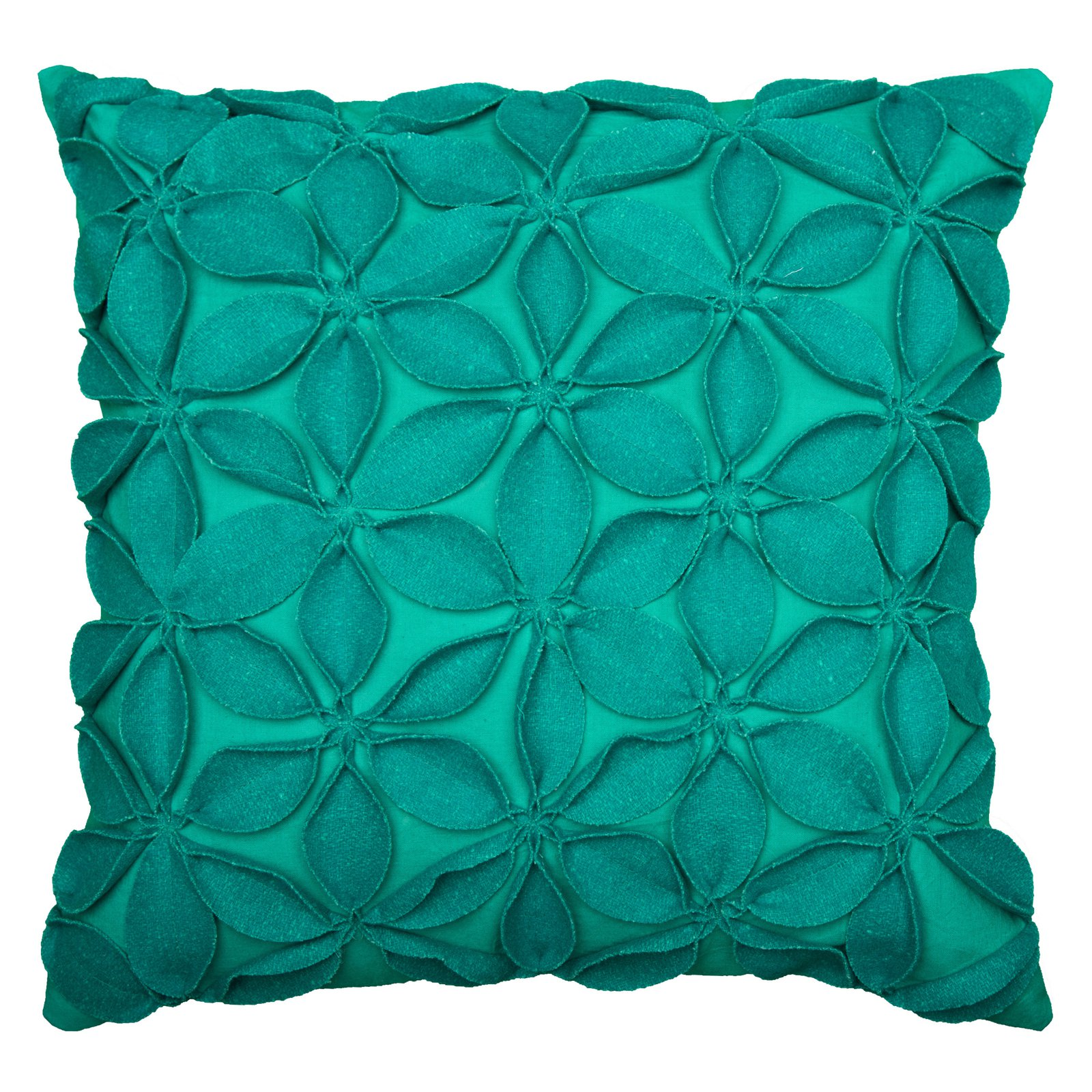"Rizzy Home Decorative Poly Filled Throw Pillow Solid Botanical Petals 18""X18"" Teal"
