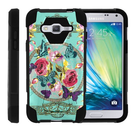 Samsung Galaxy J3  Amp Prime   Express Prime  Samsung Sol  J3v Case Silicone Gel And Pc Combo Shock Impact Kickstand Case With Dazzling Designs By Miniturtle    Royal Flowers And Butterfly