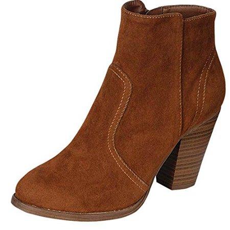 65a1d5d8fab8d Breckelle's - Breckelles Women's HEATHER-34 Faux Suede Chunky Heel Ankle  Booties Tan 7.5 - Walmart.com