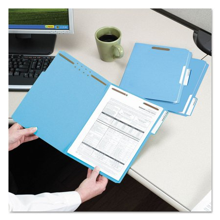 """Product of Smead 3/4"""" Expansion WaterShed/CutLess File Folder, 1/3 Cut Assorted Position Tab, 2 Fasteners, Letter, Blue, 50ct. - All Folders and Filing [Bulk Savings]"""