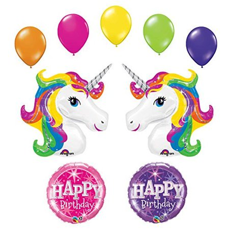 Unicorn 9 pc Rainbow Sparkle Birthday Party Balloon Bouquet by Anagram](Rainbow Balloons)