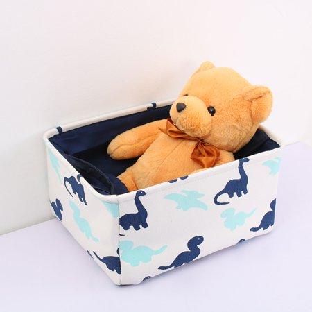Storage Bin Basket Toy Organizer with Drawstring Navy Blue Dinosaur Small