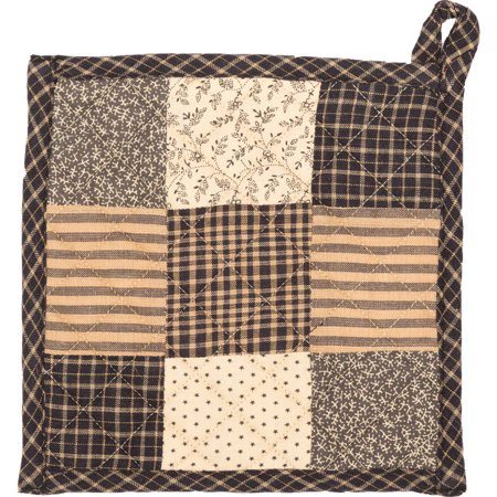 Ashton & Willow Country Black Primitive Tabletop Kitchen Prim Grove Fabric Loop Cotton Patchwork Pot Holder