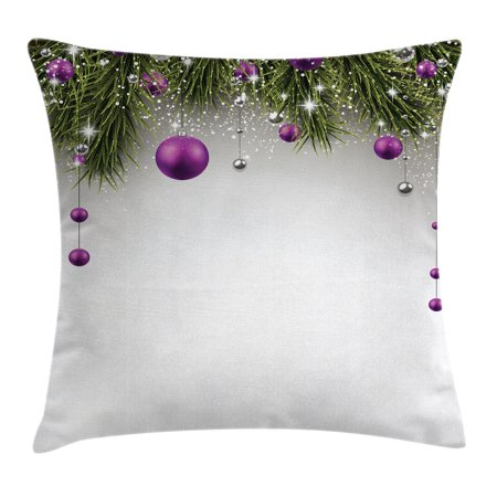 Christmas Decorations Throw Pillow Cushion Cover, Tree Decorations Tinsel and Ball with Gift Wrap Ribbon Picture, Decorative Square Accent Pillow Case, 18 X 18 Inches, Purple Grey Green, by (Ribbon Art Throw Pillow)