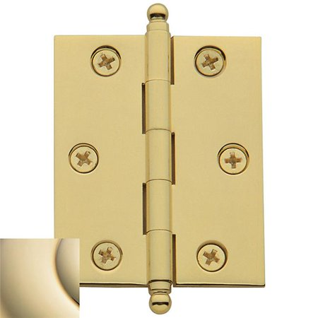 Ball Tip Radius Corner Hinge, Lifetime Polished - Polished Brass Ball Tip