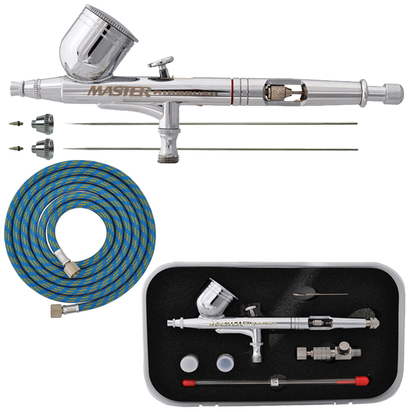 MASTER PRO Dual-Action Gravity Feed AIRBRUSH KIT SET w/ 3 TIPS Hobby Paint Craft