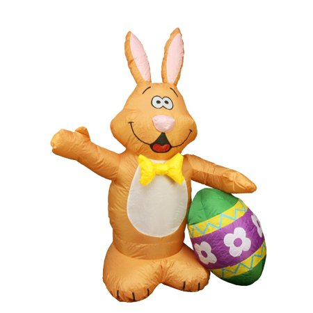 Northlight Easter 4' Inflatable Prelit Bunny with Egg Outdoor Decoration - Brown/Yellow ()