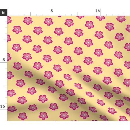 Batik Floral Cherry Blossom Sakura Phoenix Fabric Printed by Spoonflower BTY ()