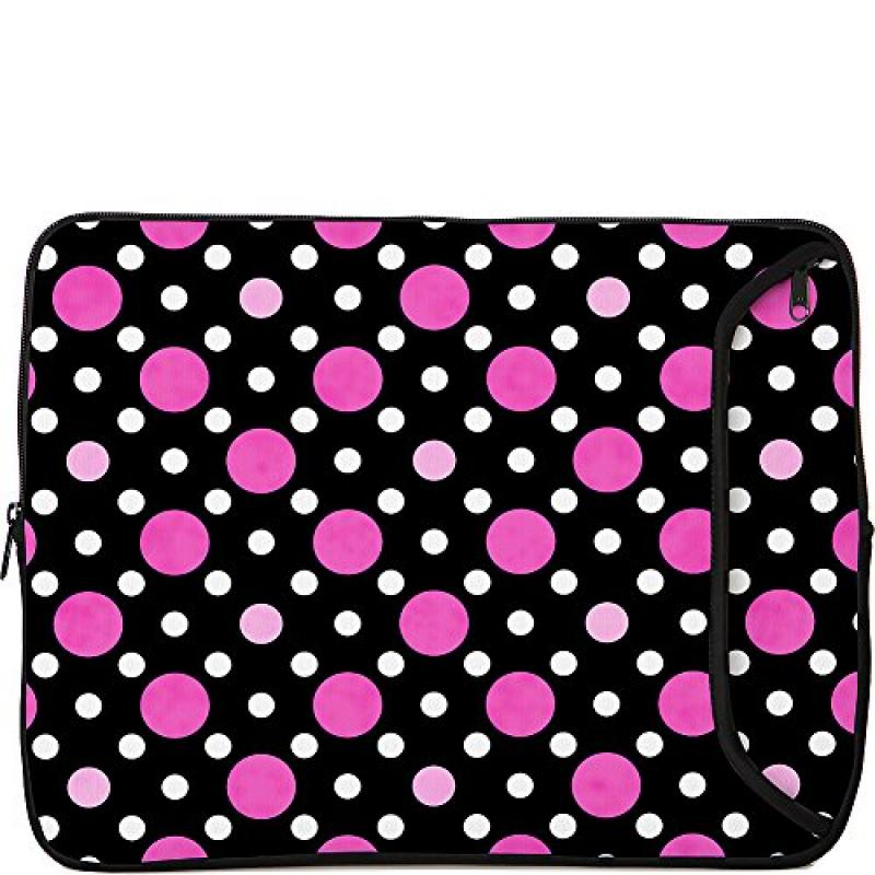 Designer Sleeves 13-Inch Polka Dots Laptop Sleeve, Black/...