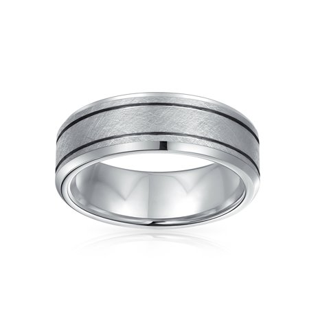 Wide Sliver Tone Double Grooved Brushed Matte Wedding Band Tungsten Ring For Men Comfort Fit 7MM - image 1 of 2