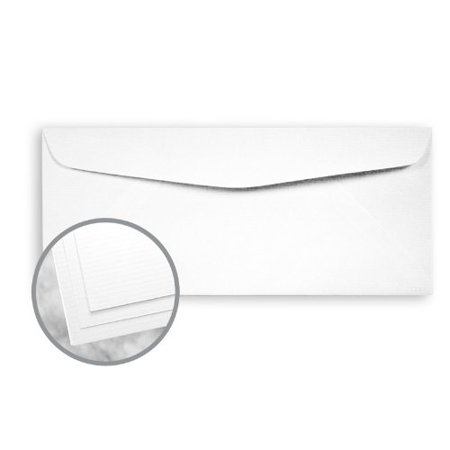 Strathmore Writing Ultimate White Envelopes - No. 10 Commercial (4 1/8 x 9 1/2) 24 lb Writing Laid 25% Cotton Watermarked 2500 per