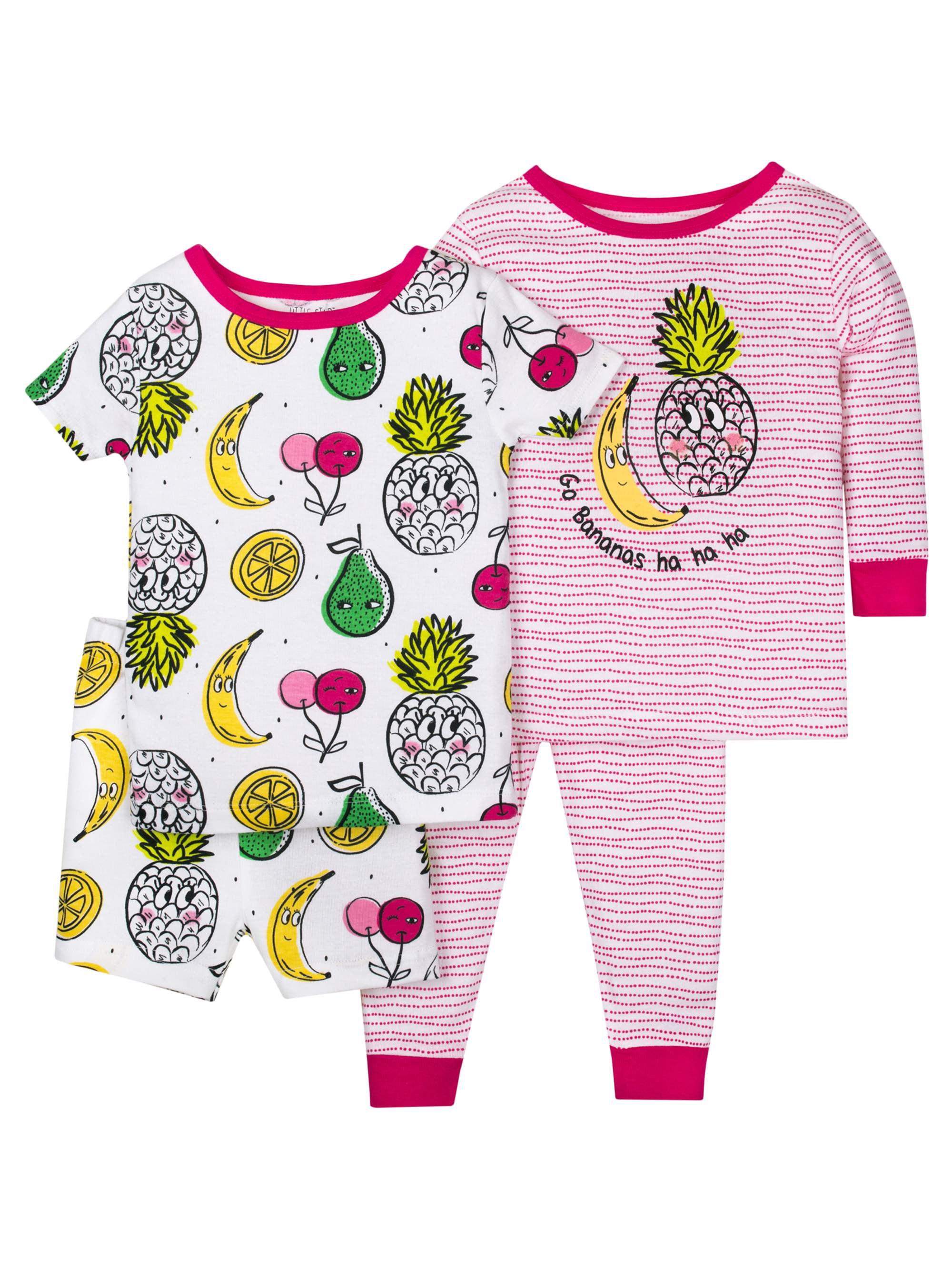 Baby Toddler Girl Snug Fit Mix 'N Match Pajamas, 4pc Set