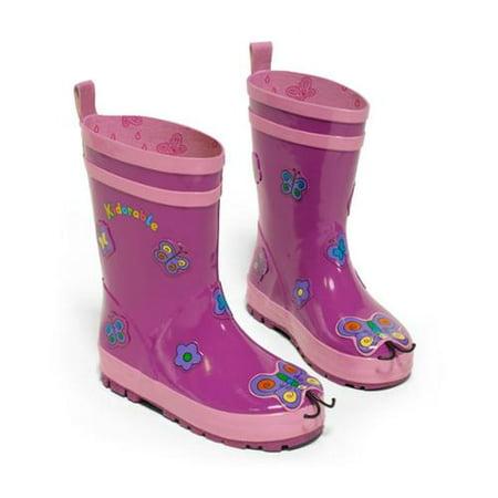 Kidorable Little Girls Purple Butterfly Design Lined Rubber Rain Boots 11-2 Kids