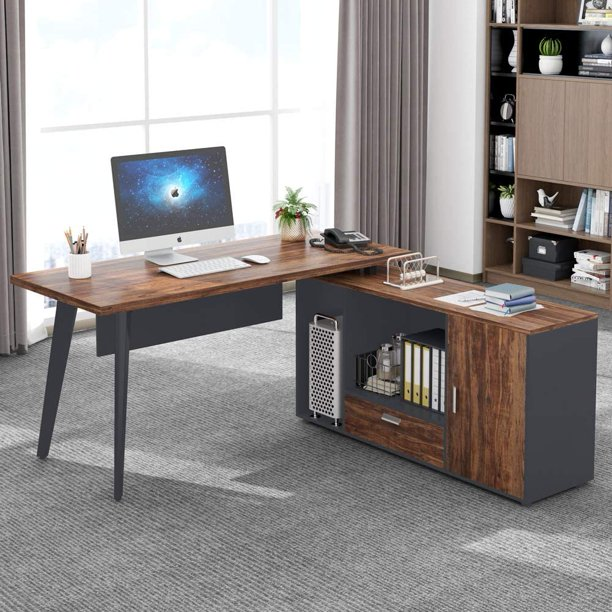 Tribesigns L Shaped Computer Desk with File Cabinet, Large Corner Computer Gaming Desk Modern Workstation Table with Drawer and Storage Shelves