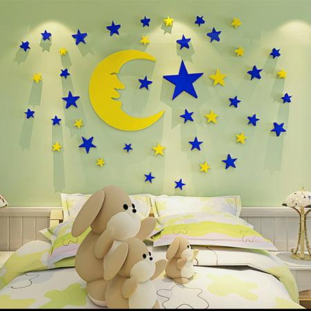 Outgeek Wall Sticker Set Creative 3D Moon Stars Wall Decor Sticker Wall Decal for Kids Boys Girls Room Home - Boys Room Decor