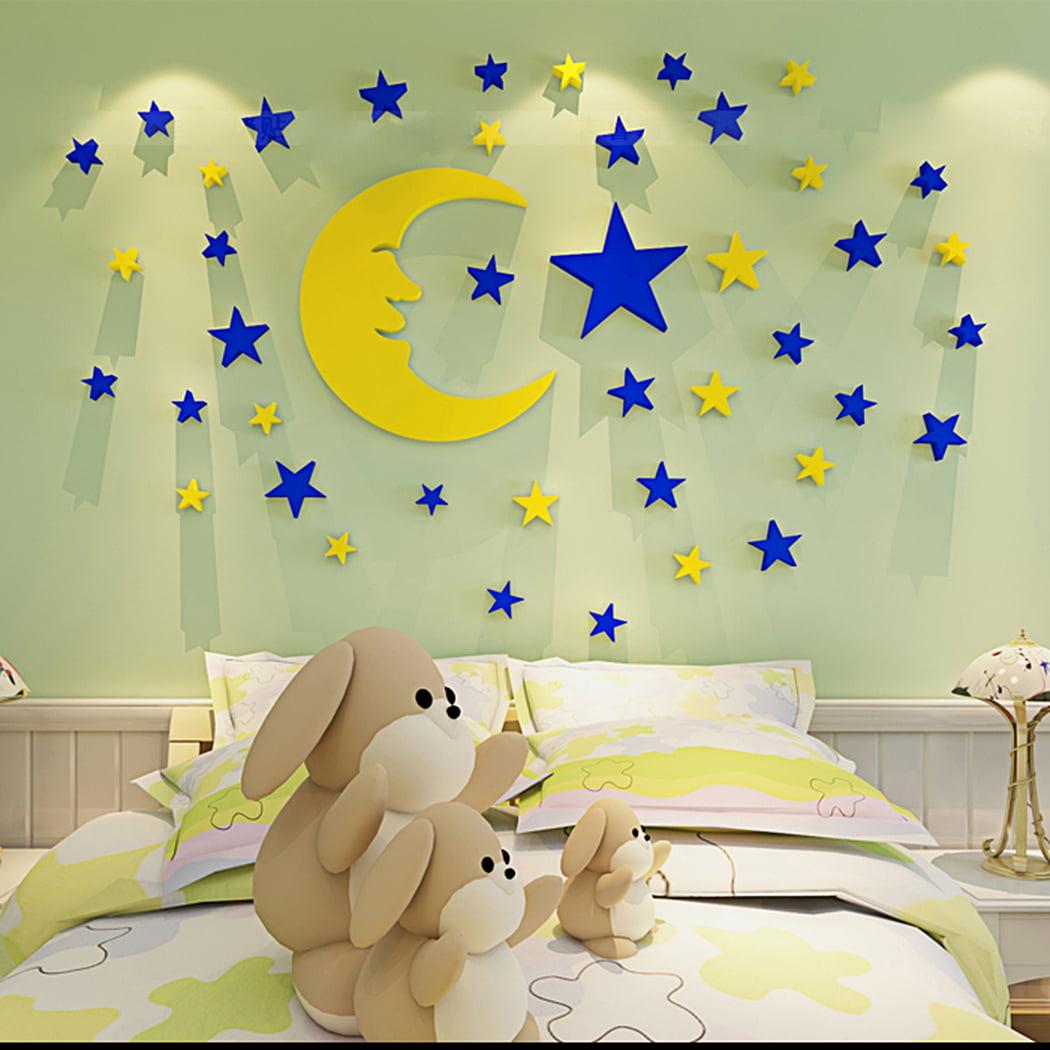 Outgeek Wall Sticker Set Creative 3D Moon Stars Wall Decor Sticker Wall Decal for Kids Boys Girls Room Home Decor