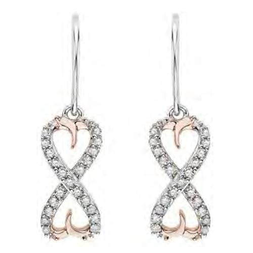 Sterling Silver and Rose Gold Plated Infinity Earrings with 0.21 Ct White Diamonds