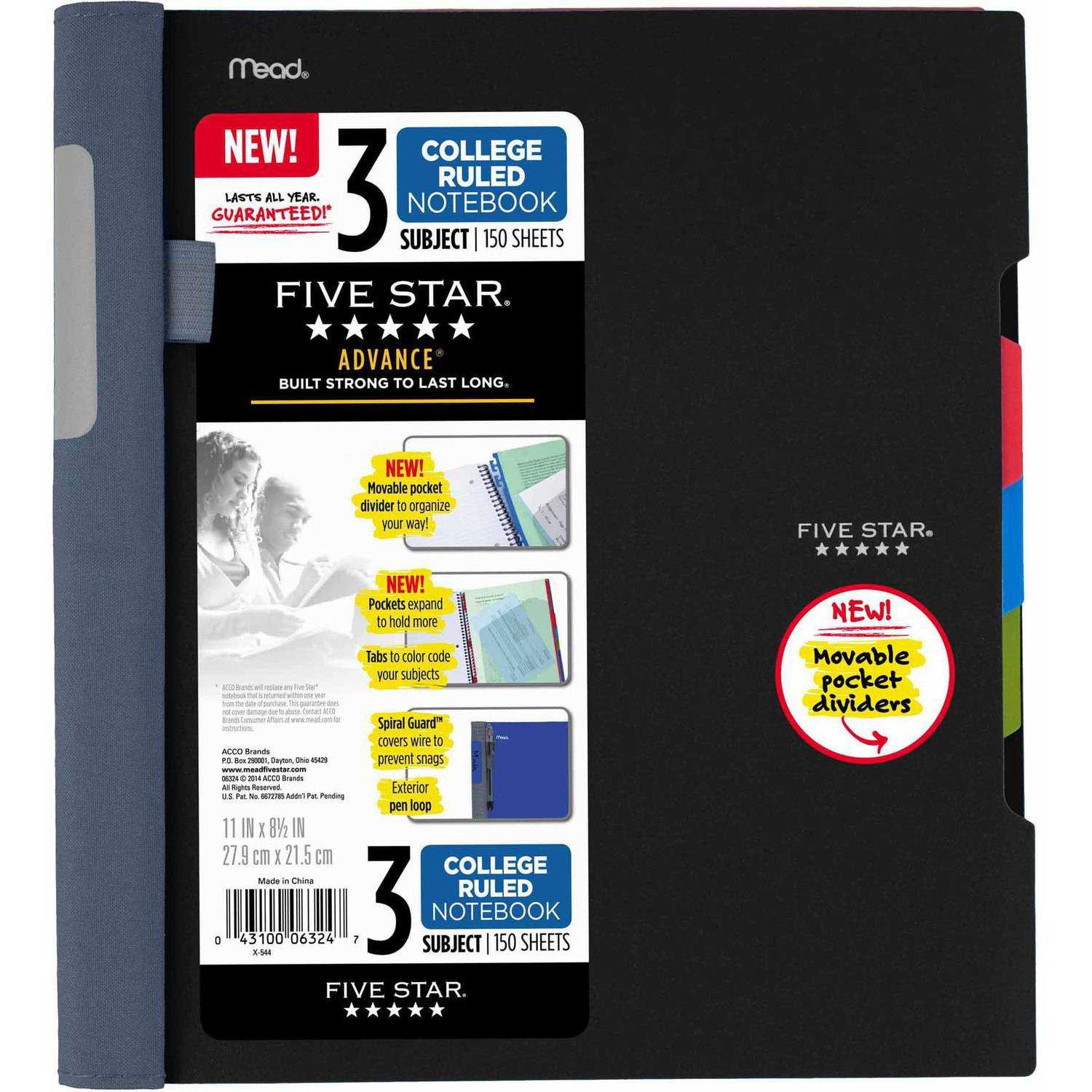 Five Star Advance 3-Subject Notebook, 150 Sheets, College Ruled