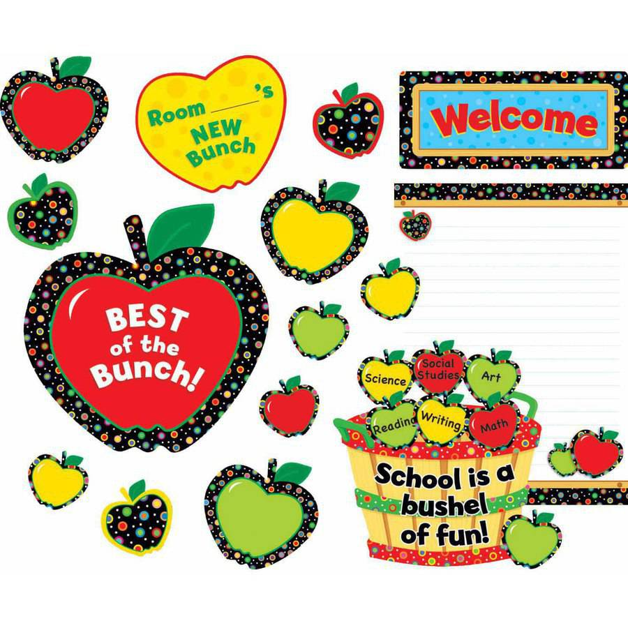 Creative Teaching Press Poppin' Patterns Back-to-School Apples Bulletin Board Set