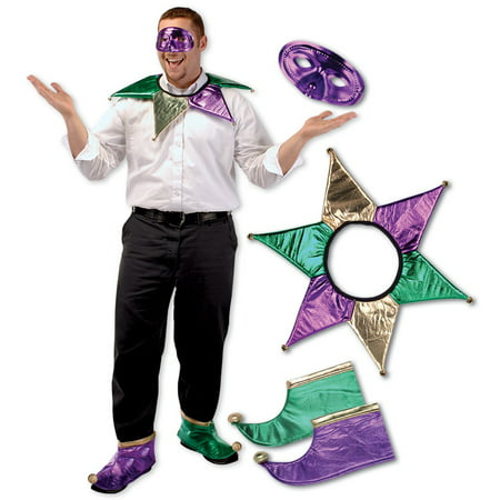 Mardi Gras Costumes (Pack of 6 Festive Gold, Green and Purple Mardi Gras Jester Costume Accessory Sets - One)