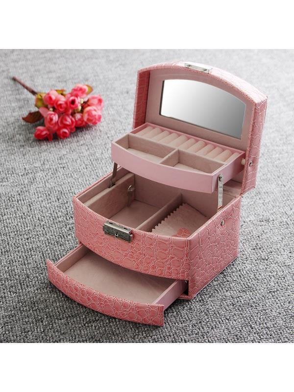"Jeteven Jewelry Box Girls Jewelry Organizer Mirrored Mini Travel Case Lockable,6.29""x5.11""x4.52"""